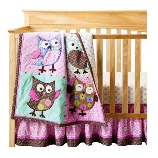 Bananafish Calico Owls 3 Piece Crib Bedding Set 14563034