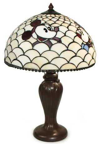 mickey and minnie mouse scallop tiffany style lamp. Black Bedroom Furniture Sets. Home Design Ideas