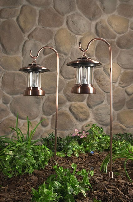 Hurricane Rustic Copper Solar Lights Set Of 2 411346 Overstock Com Shopping
