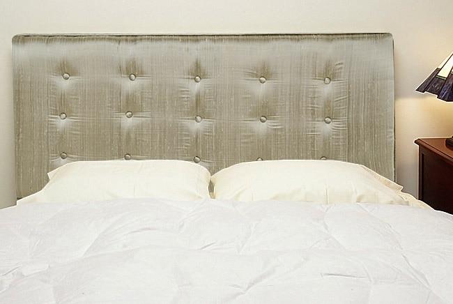 Grey Silk Upholstered Queen Size Headboard 425899