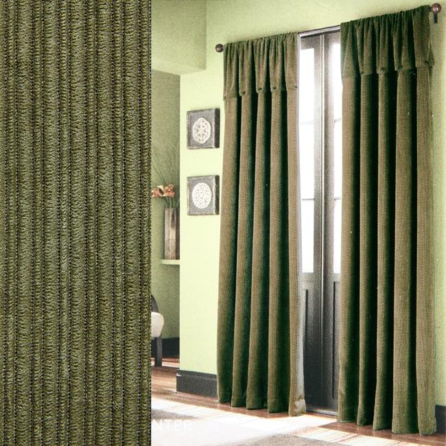 Croscill Hunter Corduroy Green 84 Inch Curtain Panels