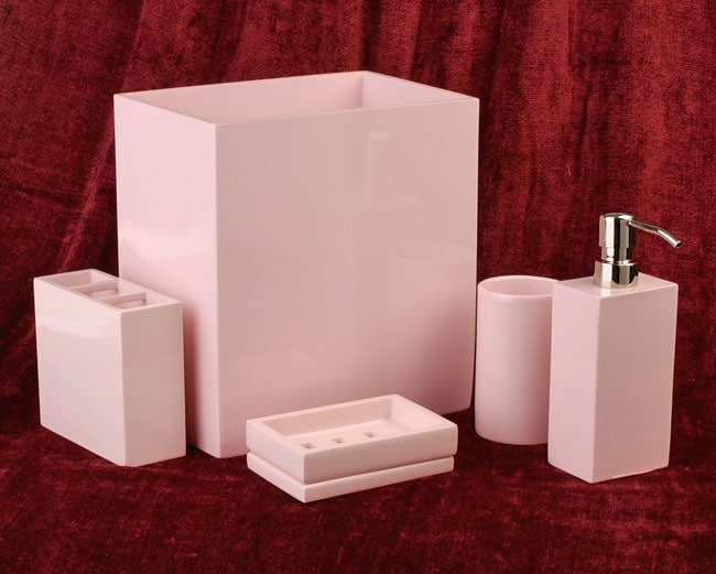 interesting pink bathroom accessories sets | Adler Pink Lacquerware Bath Accessory Set by Croscill ...