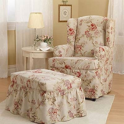 Antique Rose Wing Back Slipcover Chair 450847