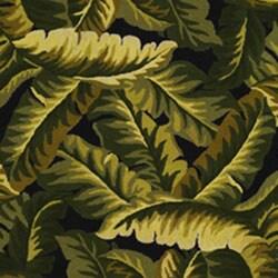 Hand Hooked Tropical Banana Leaf Wool Rug 5 X 8