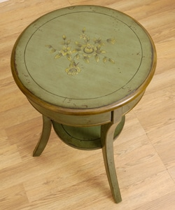 Hand Painted 3 Leg Round Accent Table 10776895