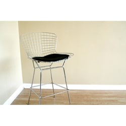 Tomkin Mesh Bar Stool With Leatherette Seat Pad 10822414 Overstock Com Shopping