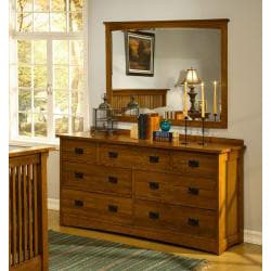 Mission Solid Oak 5-piece King Panel Bedroom Set w/ 7 ...