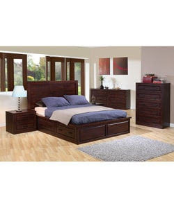 Garret Queen Size Platform Bed With Drawers And Headboard