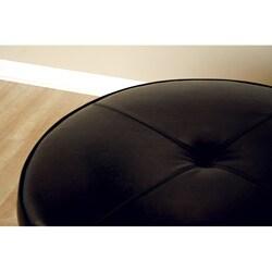 Howard Black Bi Cast Leather Large Round Ottoman