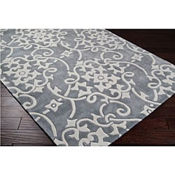 Hand Tufted Grey Floral Rug 8 X 11 13291445