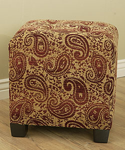 Paisley Burgundy Button Tufted Cube Ottoman 10497613
