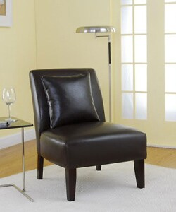 Accent Dark Brown Leather Chair 10722683 Overstock Com