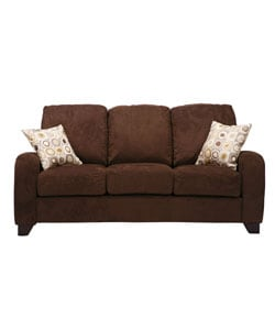 Fendor Chocolate Brown Twill Microfiber Modern Sofa