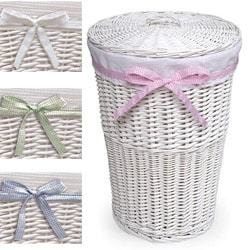 White Round Rattan Hamper With White Waffle Liner