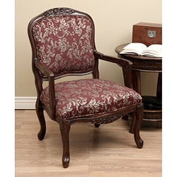 Burgundy Print Carved Arm Chair 11716134 Overstock Com