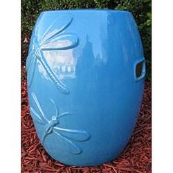 Dragonfly Ocean Blue Ceramic Garden Stool 11942543