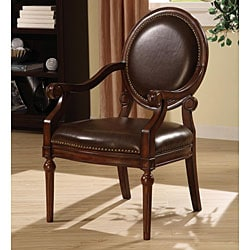 Roll Arm Bi Cast Leather Nailhead Accent Chair 12105186