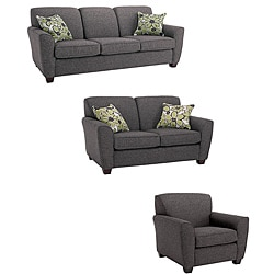 Mirage 3 Piece Grey Fabric Sofa Loveseat And Chair Set