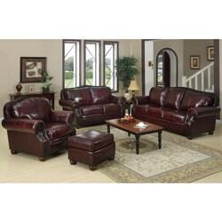 Park Lane 4 Piece Burgundy Leather Living Room Set