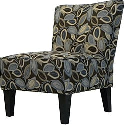 Hali Armless Designer Accent Chair Brown Modern Leaf