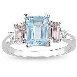 10k White Gold Blue Topaz, Morganite and Diamond Accent Ring