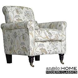 Angelo Home Harlow Vintage Floral Ocean Blue Arm Chair