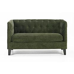 Modern Green Chenille Loveseat 13096062 Overstock Com