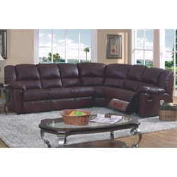 Brown Leather Match Full Sleeper Reclining Sectional Sofa