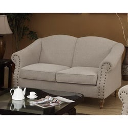 Sand Nailhead Accent Loveseat 13966583 Overstock Com