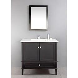Windham Black 36-inch Bath Vanity with 2 Doors, Bottom ...
