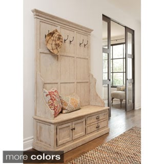 White Solid Wood Bench With Storage 14349460 Overstock