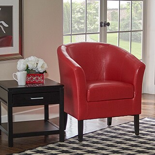 Linon Andrew Hot Red Vinyl/Wood Barrel Club Chair