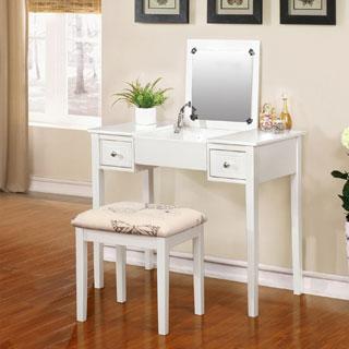 Laurel Creek Zadie White Vanity Table with Mirror & Stool