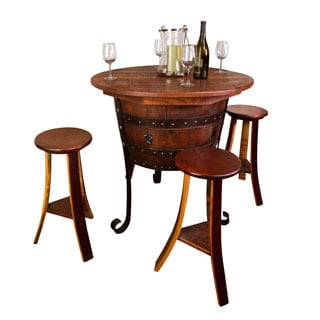 Wine Barrel Table Set With Open Rack Base 16816433