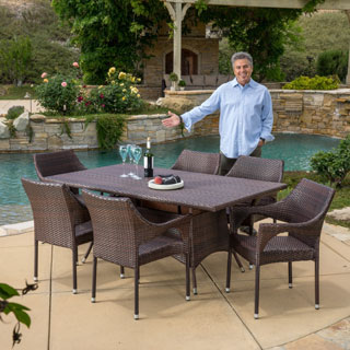 Christopher Knight Home Zumba Pe Wicker 7 Piece Outdoor