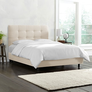 Skyline Furniture Nail Button Tufted Wingback Bed In Linen