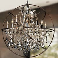 Foucault's Orb Chandelier 13-light Chrome Finish and Clear Crystal with Flemish Brass Finish Cage