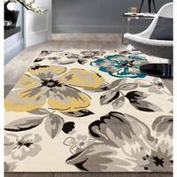 Modern Floral Circles Cream Area Rug - 5' x 7'