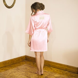 Team Bride Pink Satin Robe