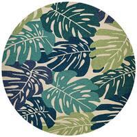 Couristan Covington Monstera Cream/Multicolored Indoor/Outdoor Area Rug - 7'10 x 7'10