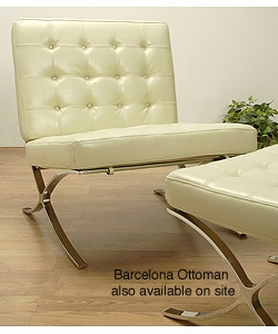 Barcelona Style Creme Leather Chair 417811 Overstock