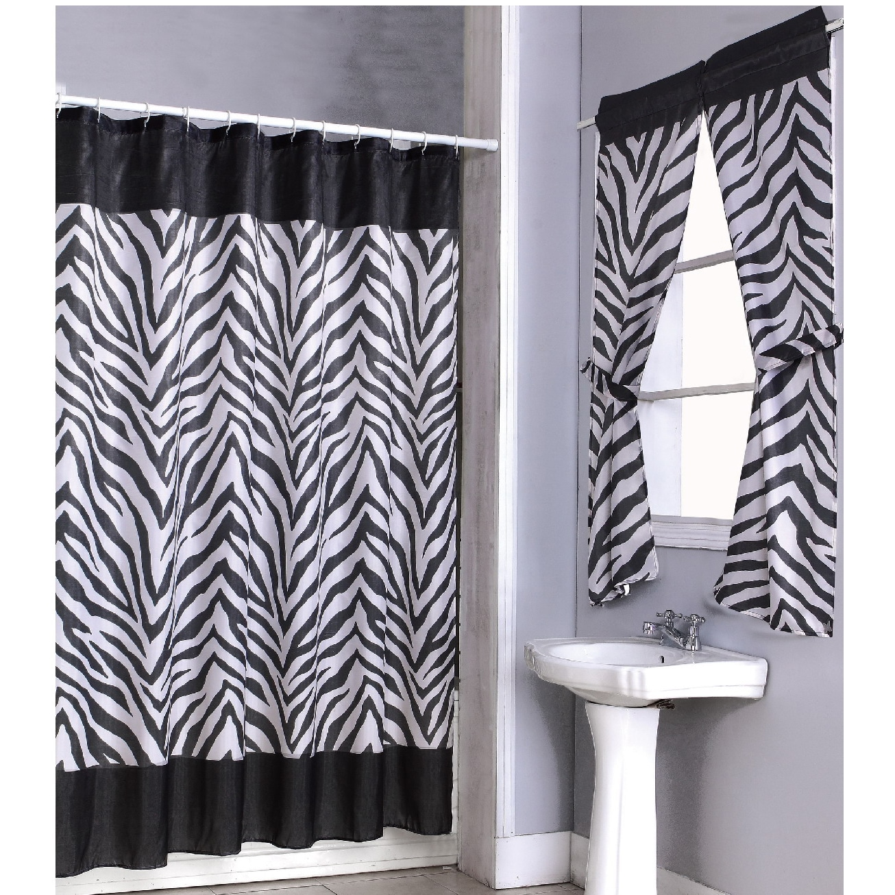 Matching Bedroom And Bathroom Sets: Zebra Print Shower Curtain 14-piece Set And 4-piece Window