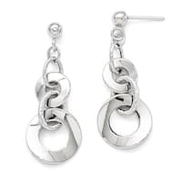 Italian 14k White Gold Polished Textured Post Dangle Earrings