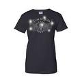 Women's Juniors T-Shirt Rhinestones Live To Ride Skull & Angel Wings Biker Tee - Thumbnail 5
