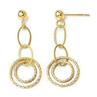 Italian 14k Gold Polished and Textured Post Dangle Earrings