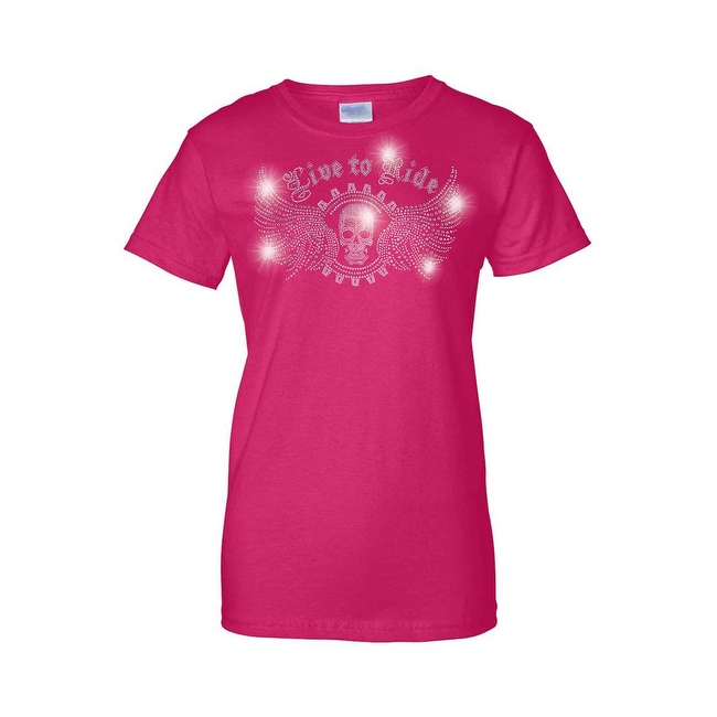 Women's Juniors T-Shirt Rhinestones Live To Ride Skull & Angel Wings Biker Tee