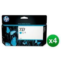 HP 727 130-ml Cyan DesignJet Ink Cartridge (B3P19A) (4-Pack)