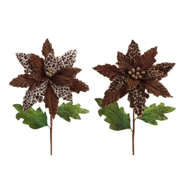 Pack of 6 Glittered Leopard Print Velvet and Polyester Poinsettia Stem 25""