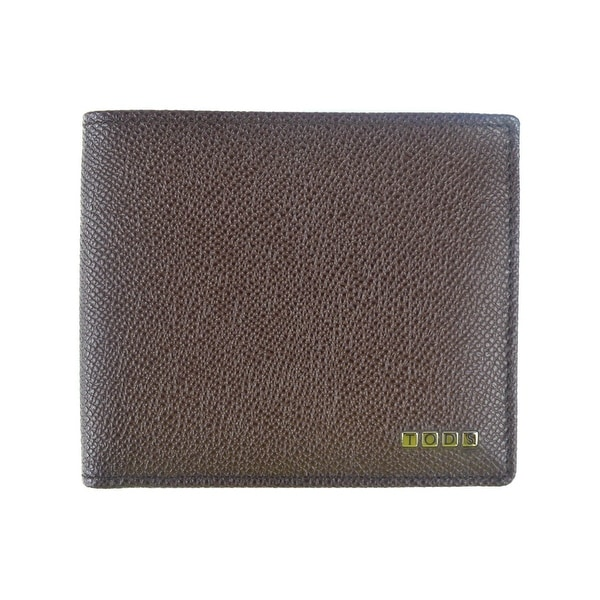 Tods Mens Brown Grained Leather Metal Letters Logo Bifold Wallet