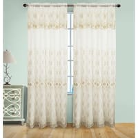 Josephine Embroidery Rod Pocket Panel with Attached Valence and Backing, Beige-Gold, 55x90 Inches